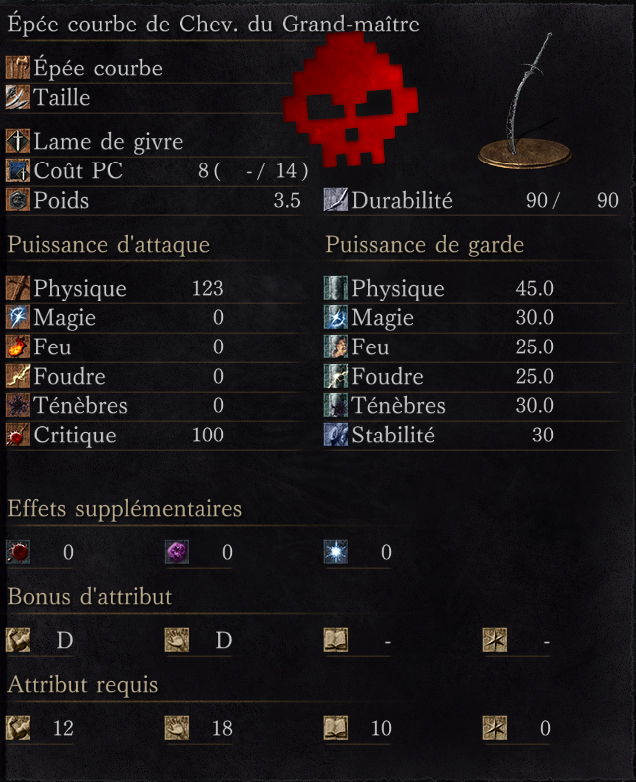 Épée Courbe de Chevalier du Grand-Maître