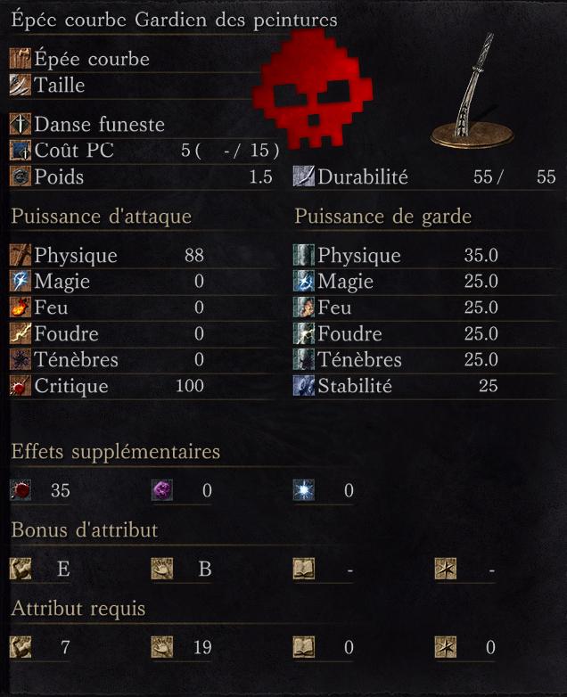 Épée Courbe de Gardien des Peintures