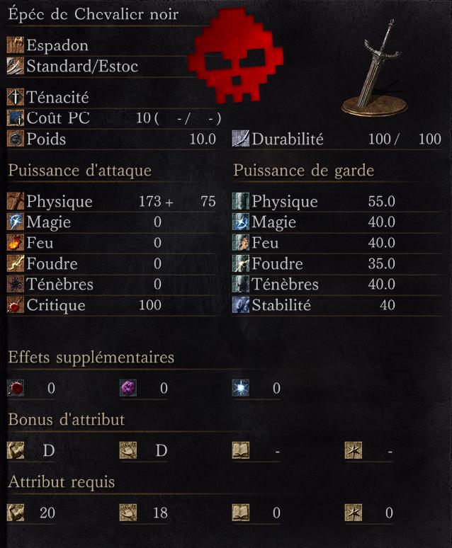Épée de Chevalier Noir