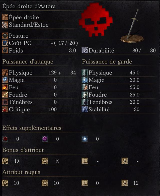 Épée droite d'Astora