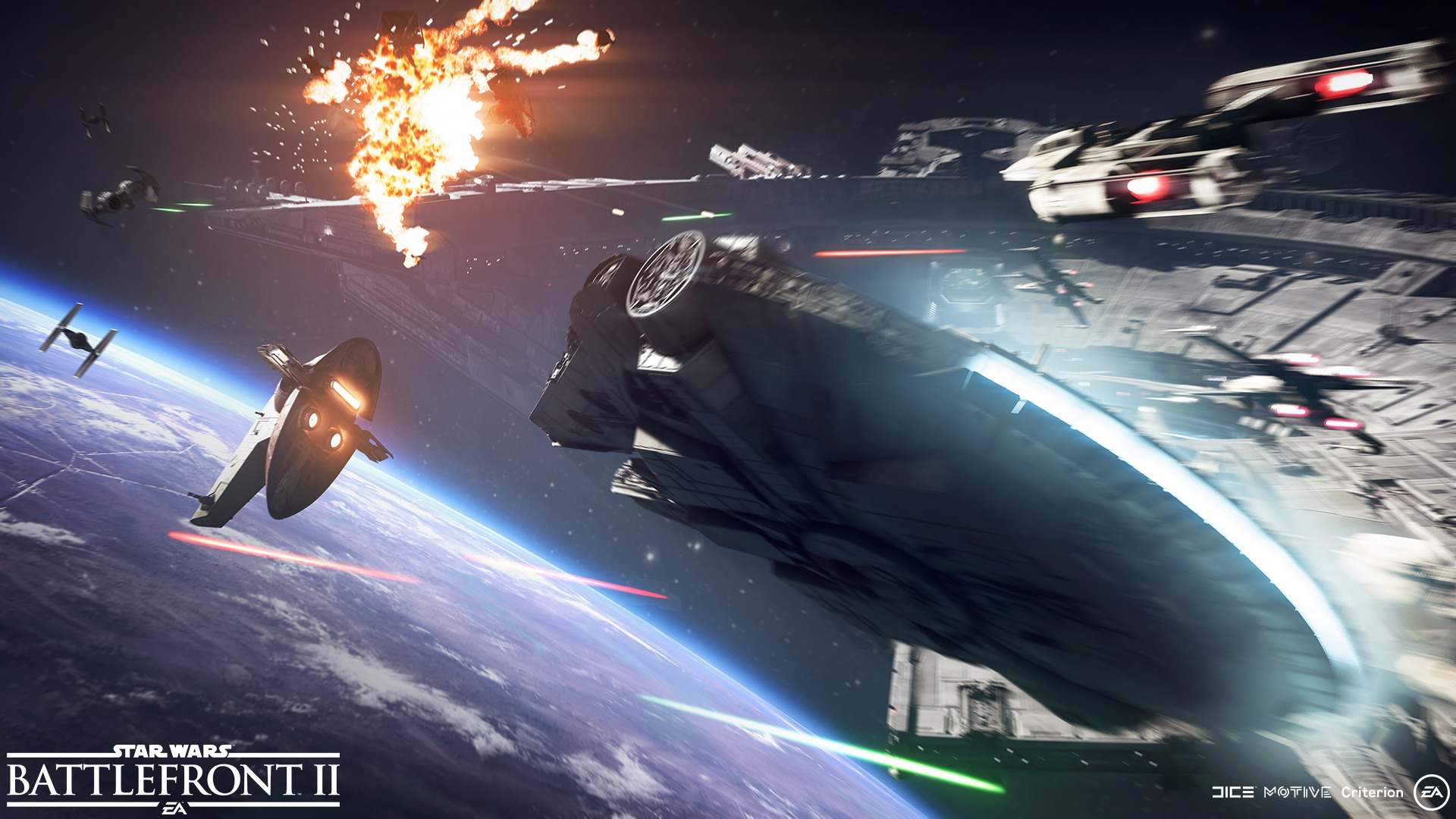falcon millenium dans une bataille spatiale
