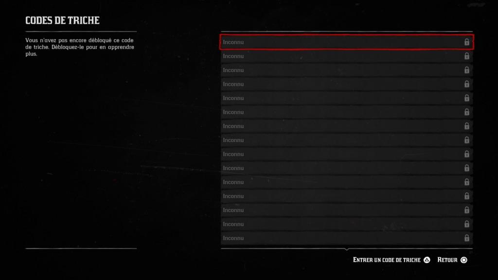 Guide Red Dead Redemption 2 menu des codes de triche