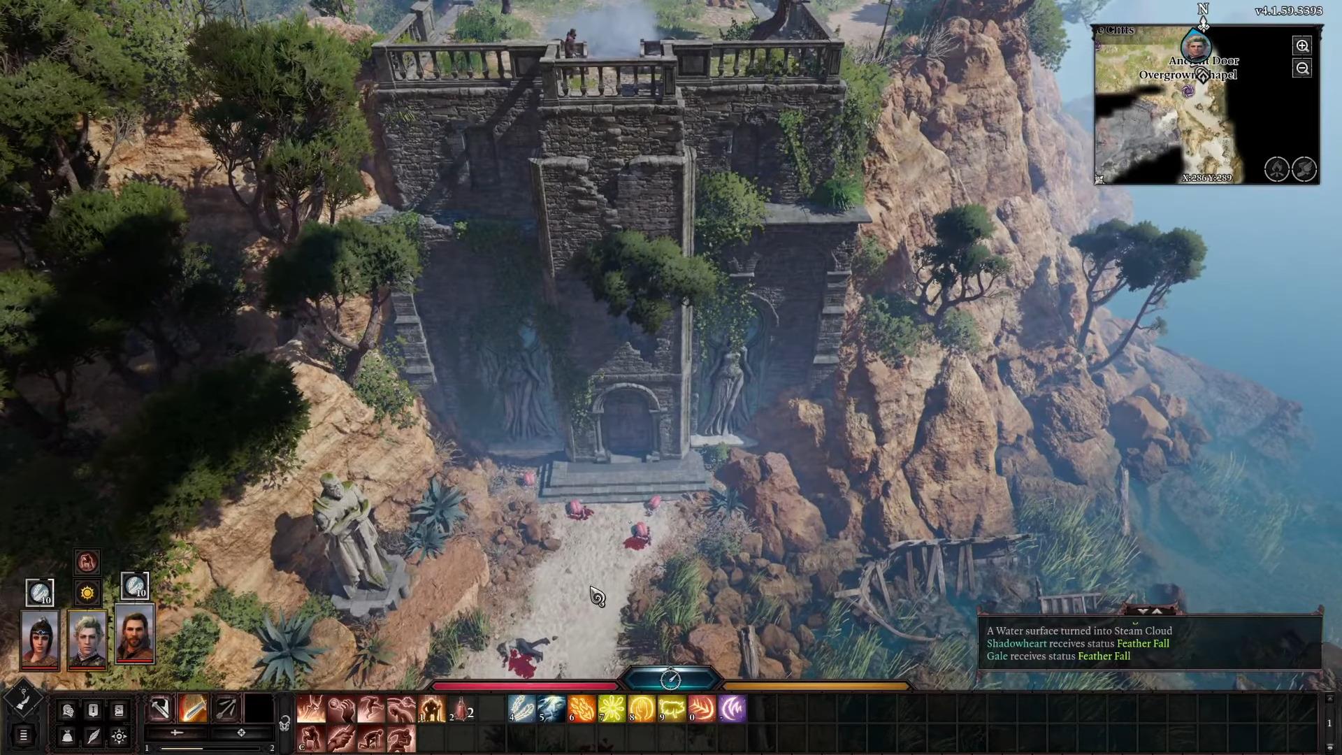 Baldur's Gate 3 grand bâtiment dans falaise