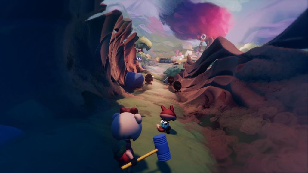 Un niveau coloré de Dreals où se baladent deux personnages