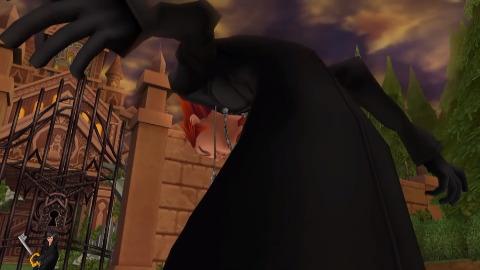 Axel face à Xion devant le manoir de la cité du crépuscule