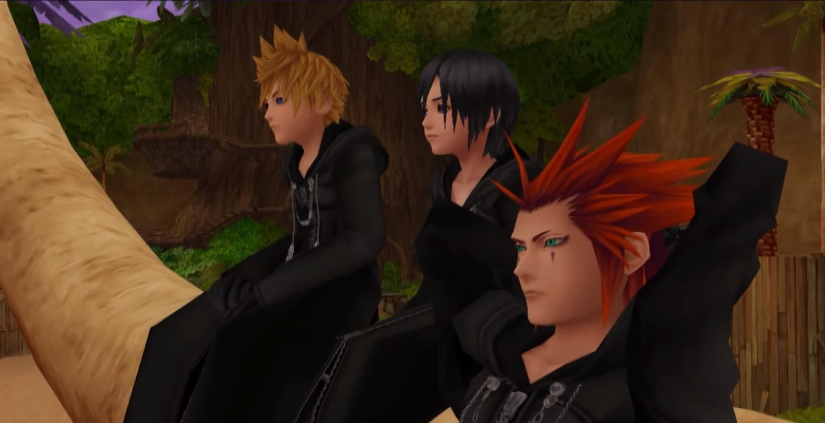 Roxas, Axel et Xion sur le palmier de l'île du destin