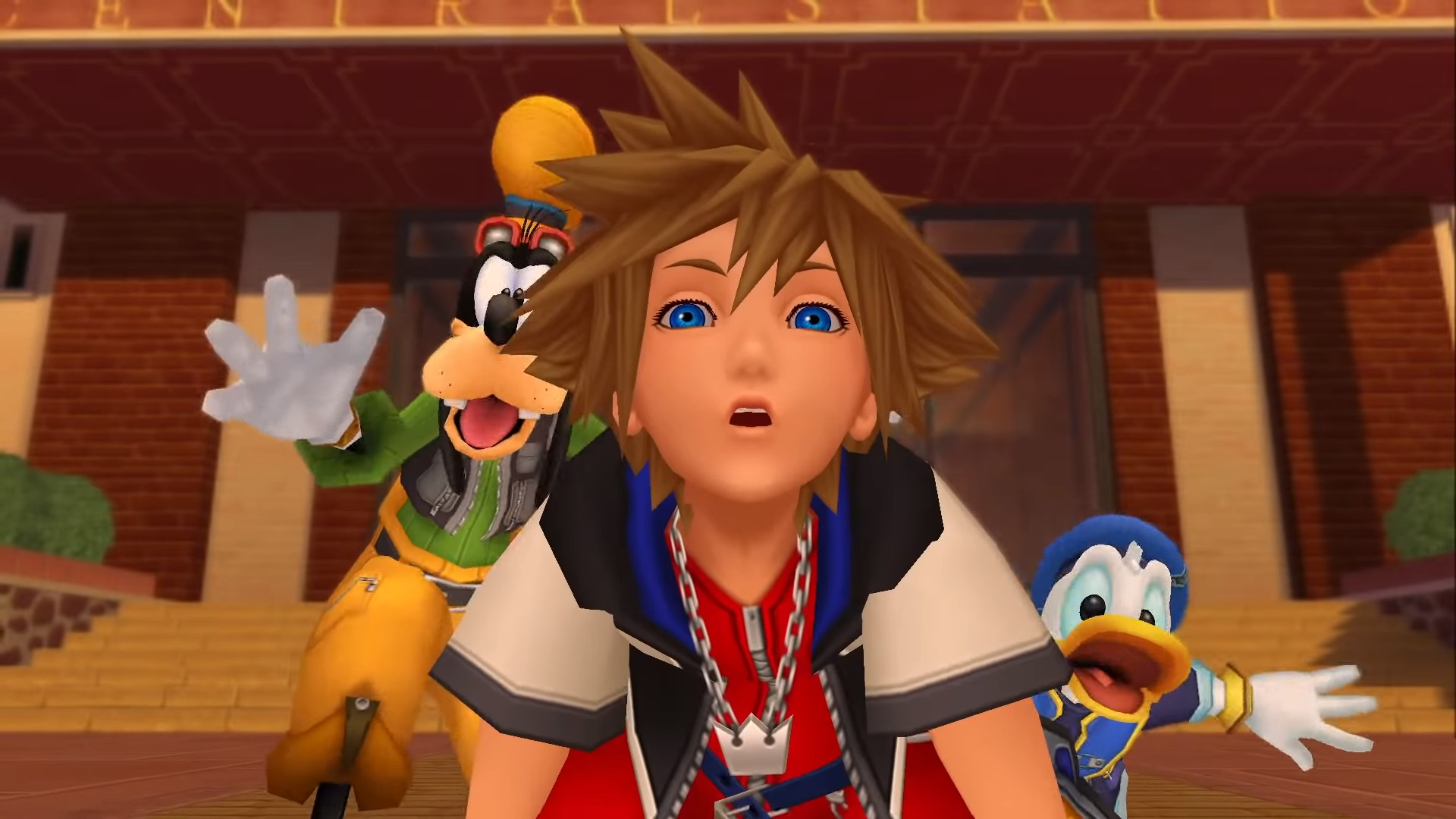 Sora, Donald et Dingo surpris