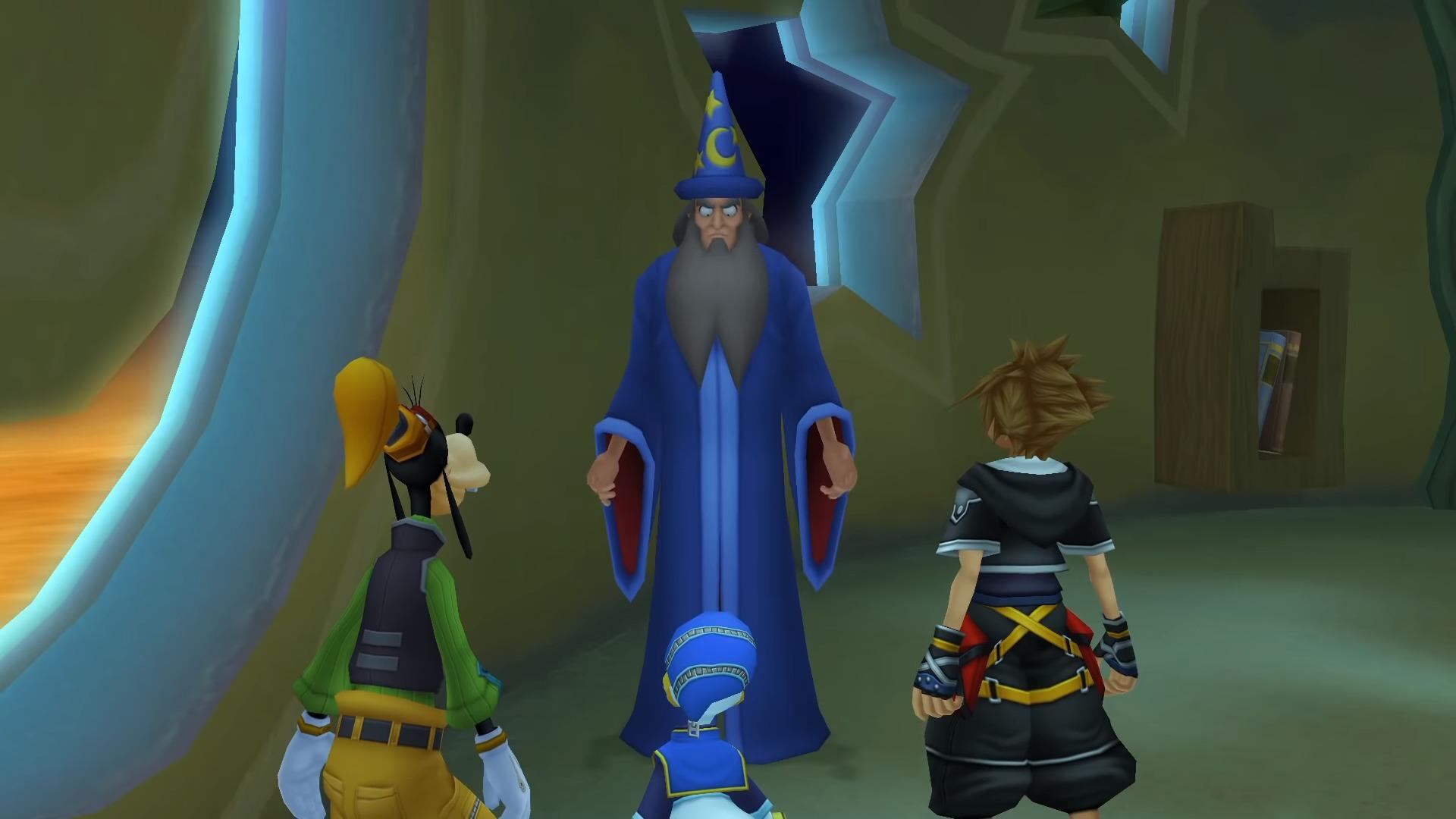 Sora, Donald et Dingo parlant à Yen Sid