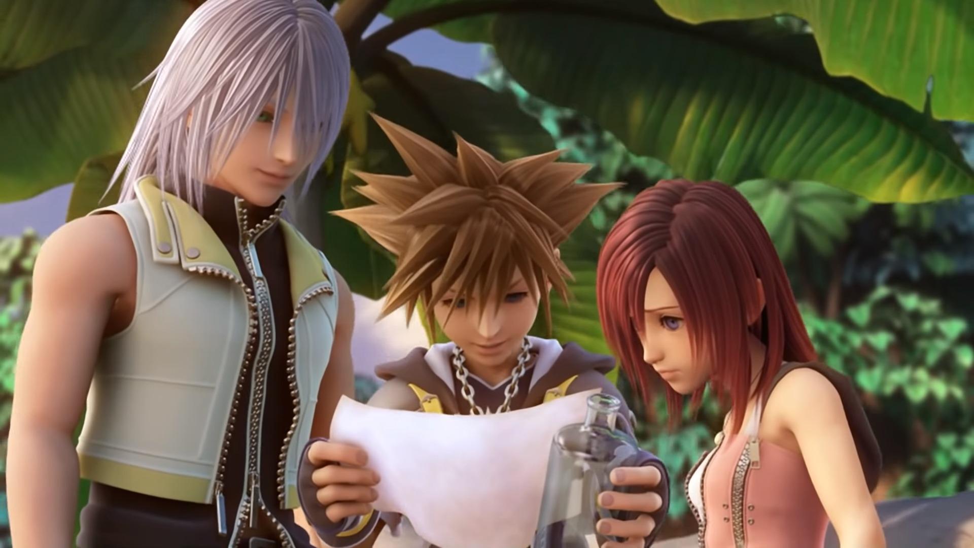 Sora, Riku et Kairi lisant la lettre du roi