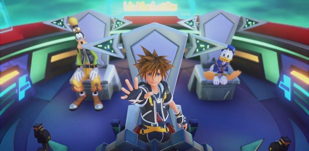 Sora, Donald et Dingo dans le vaisseau gummi