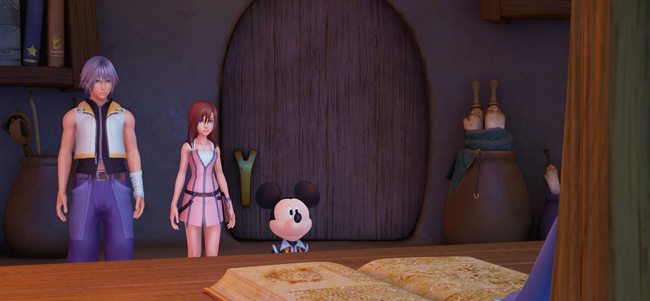 Riku, Mickey et Kairi devant Yen sid