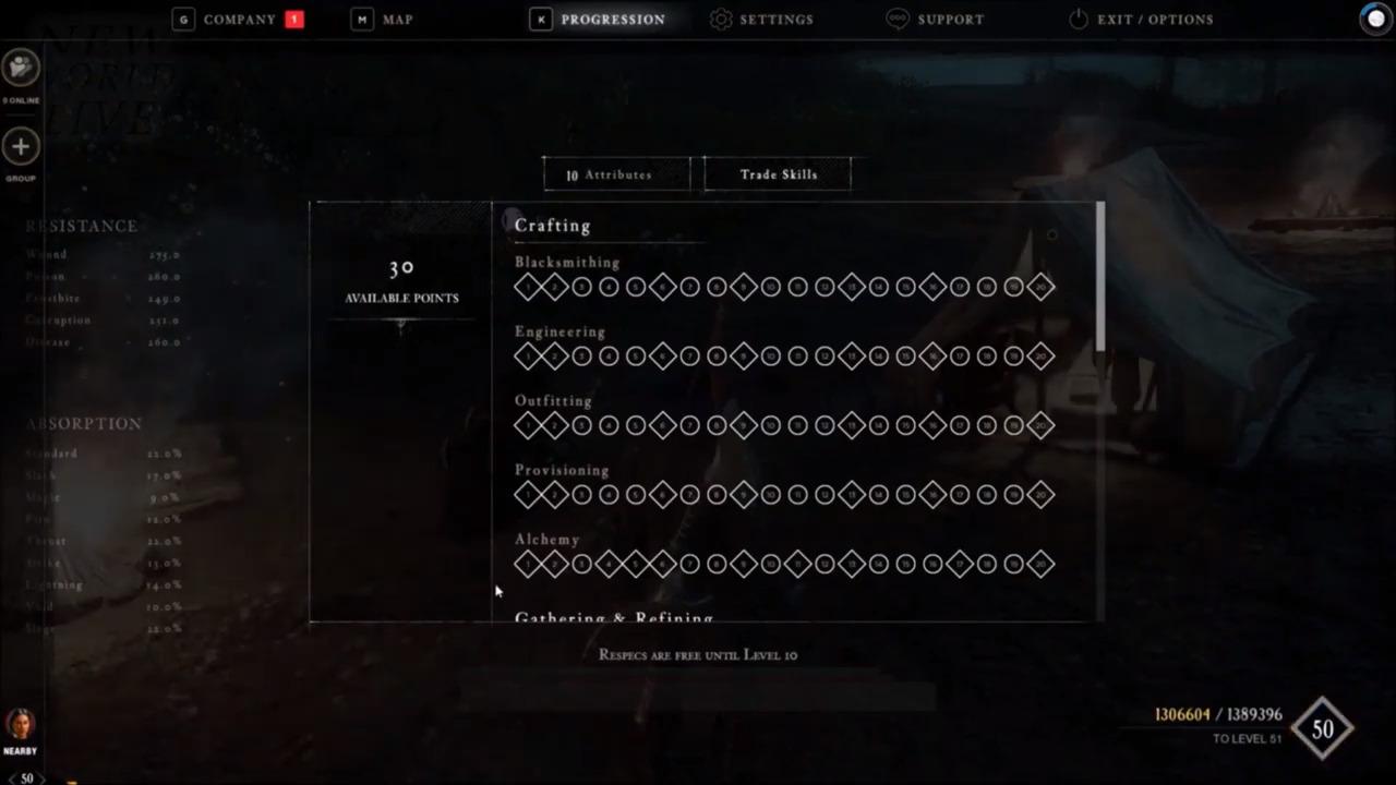 New world skill tree