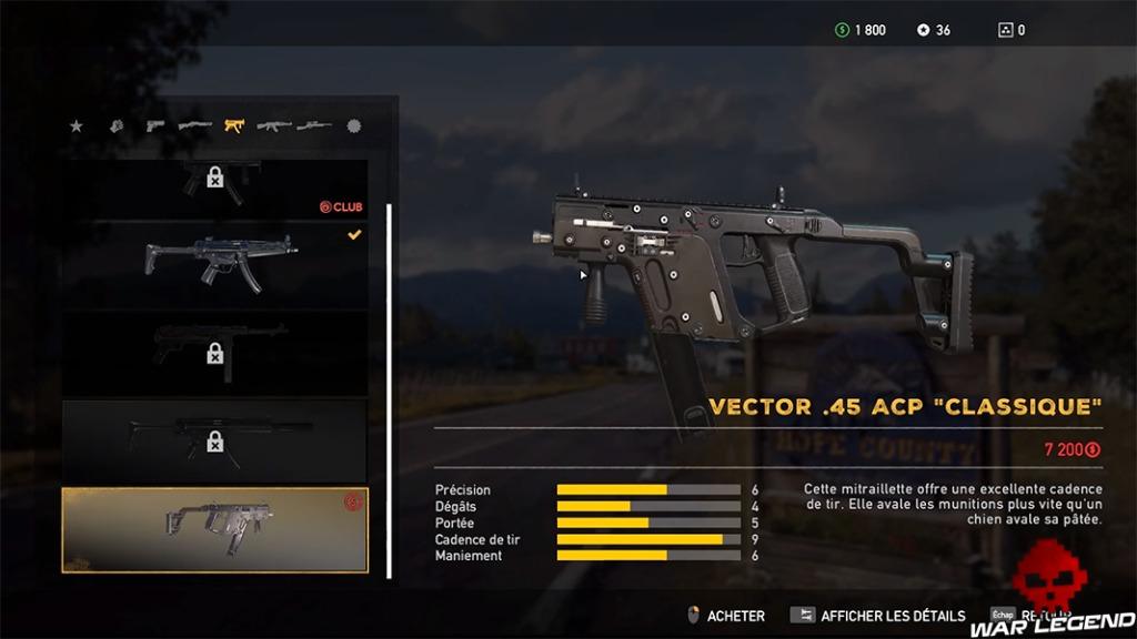 Les statistiques du Vector de Far Cry 5