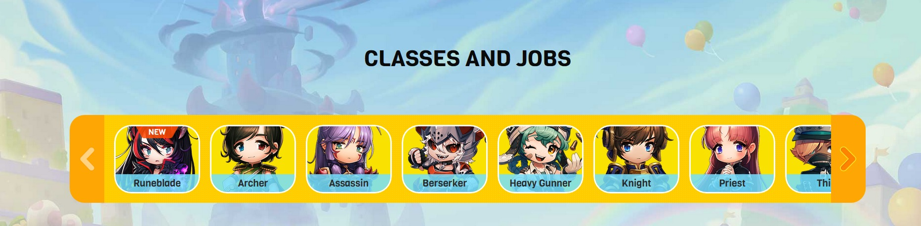 Liste deroulante des classes disponibles de Maple Story 2