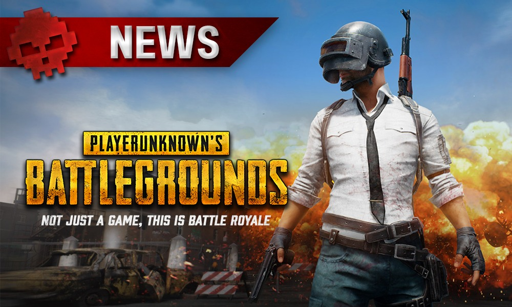 logo playerunknown's battlegrounds avec personnage armé portant un masque de soudeur