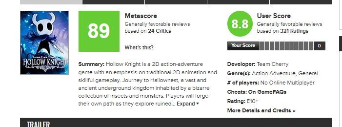 screenshot Metacritic Hollow Knight