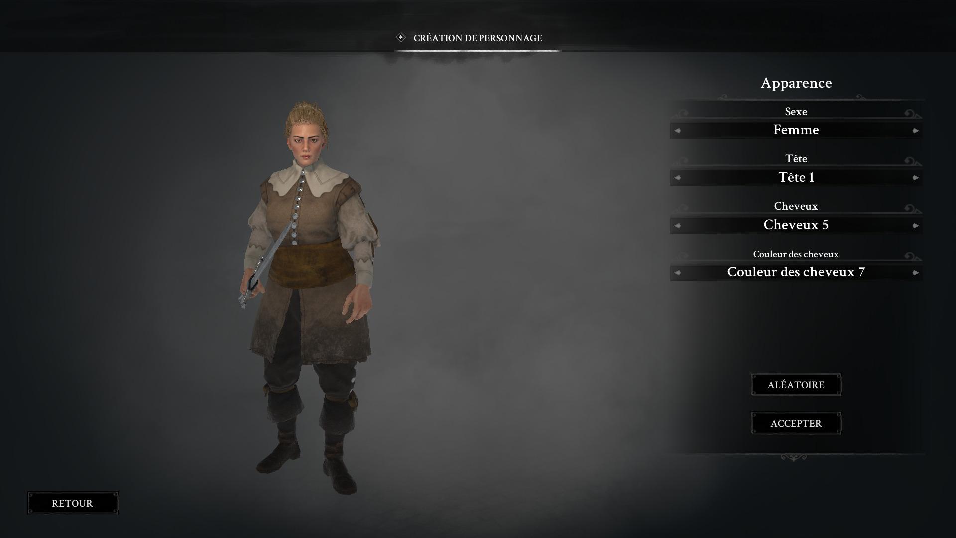 Phase de création du personnage principal.