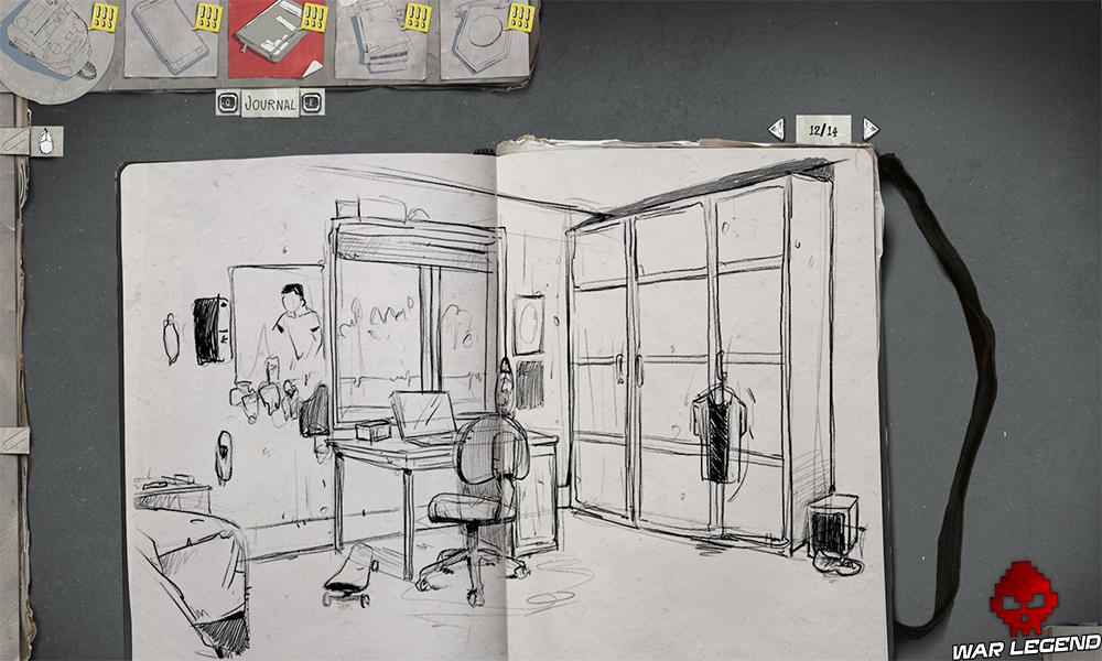 Un dessin d'une chambre dans un cahier.