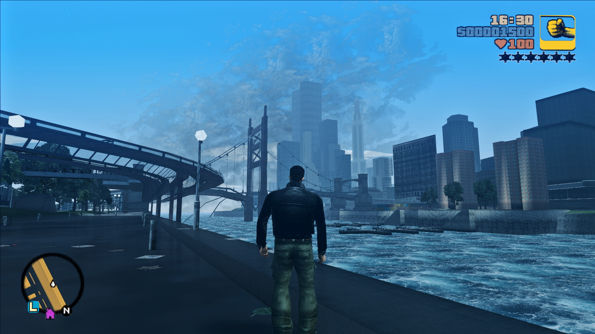 GTA III - Claude devant Liberty City