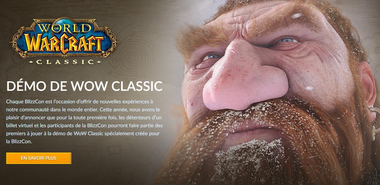 bannière annonce démo World of Warcraft: Classic