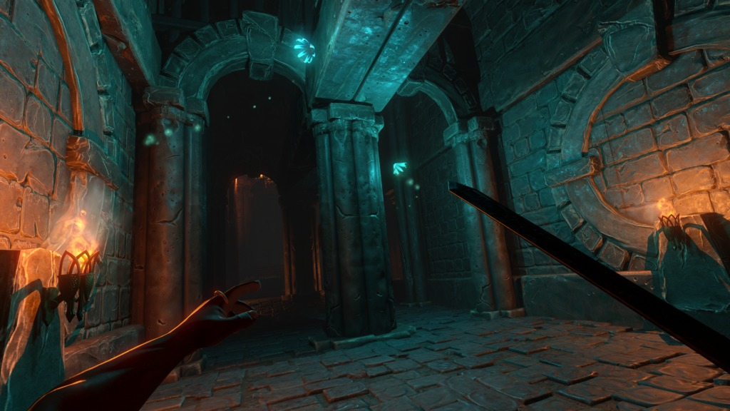 Underworld Ascendant donjon éclairage bleuté