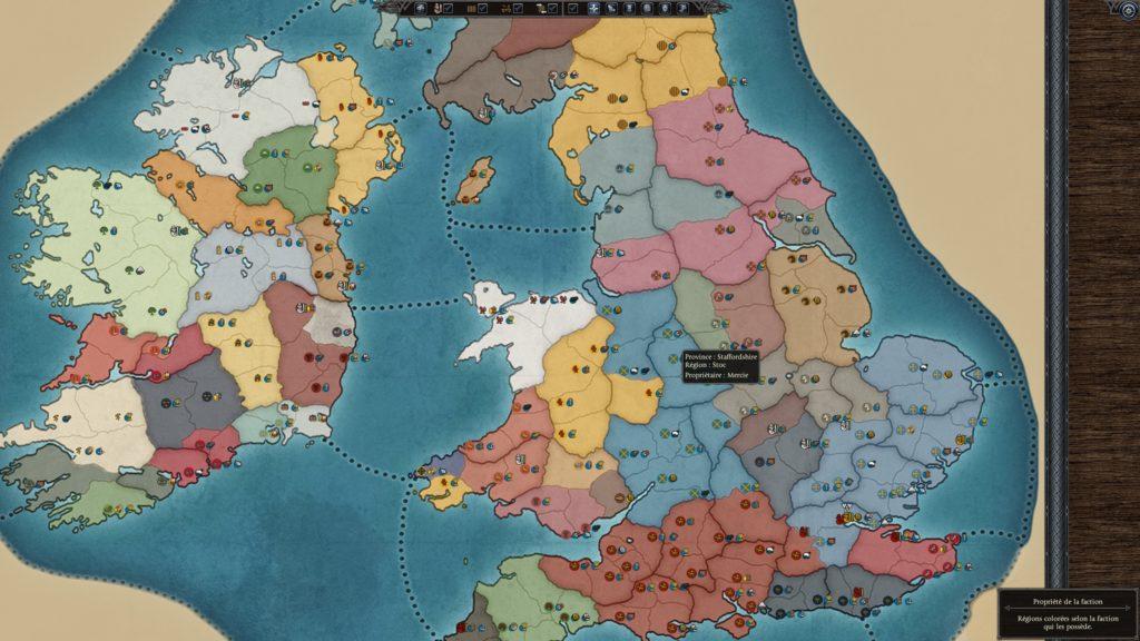 La carte stratégique de Total War Thrones of Britannia