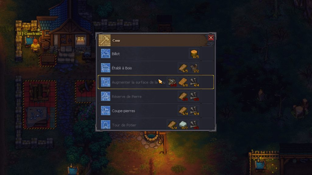 Menu de craft de Graveyard Keeper