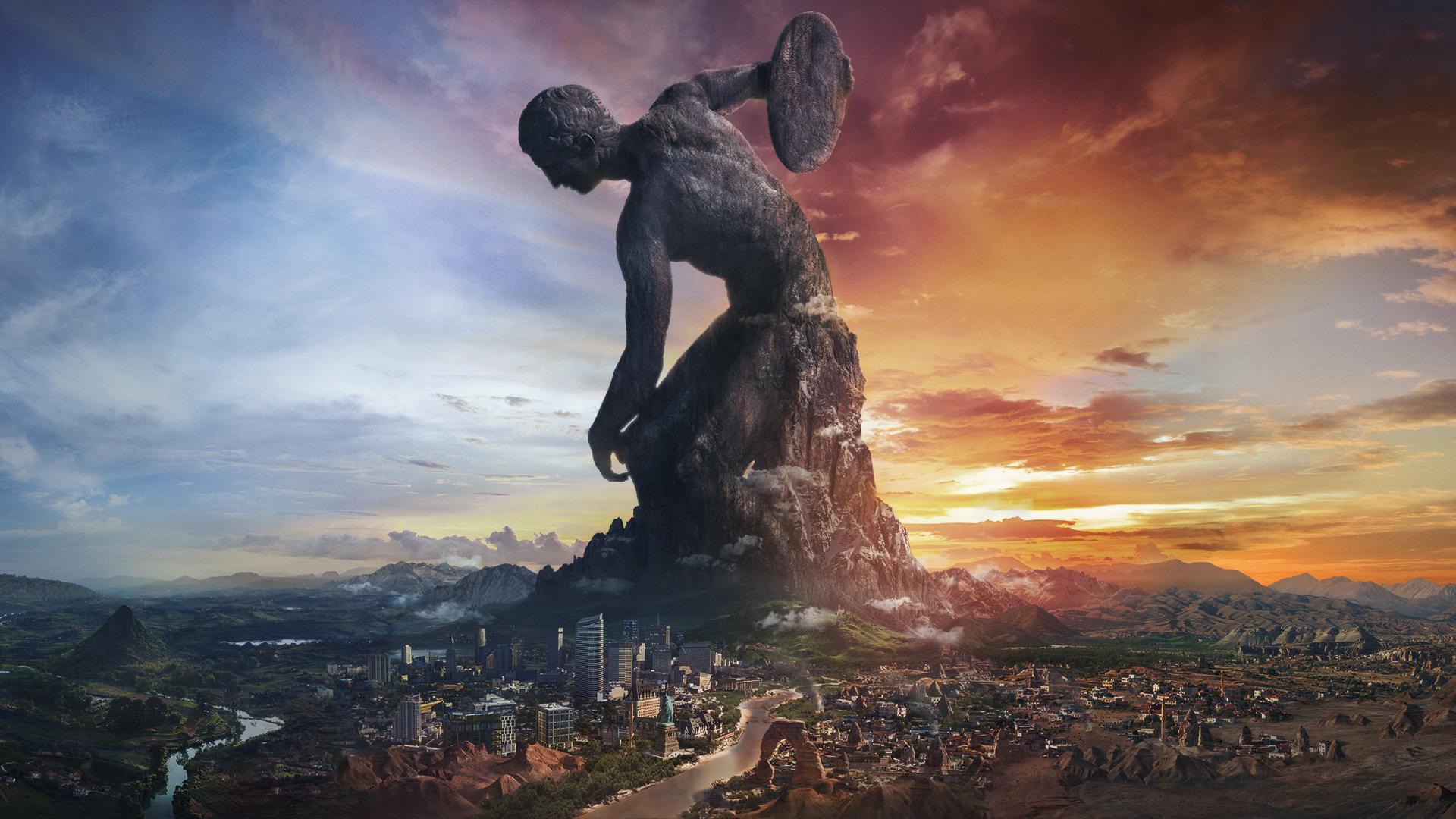 lanceur de disque, statue surplombant une immense cité