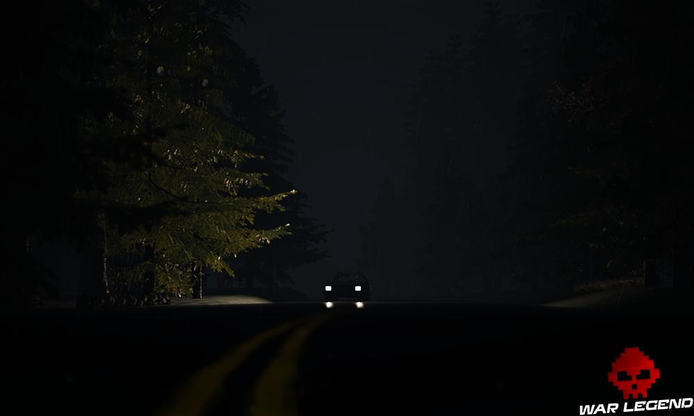 Une voiture sur une route en pleine nuit.