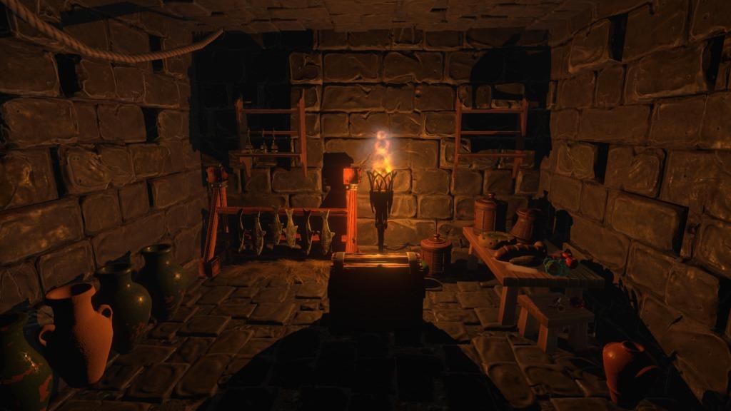 Underworld Ascendant salle de donjon illuminée à la torche