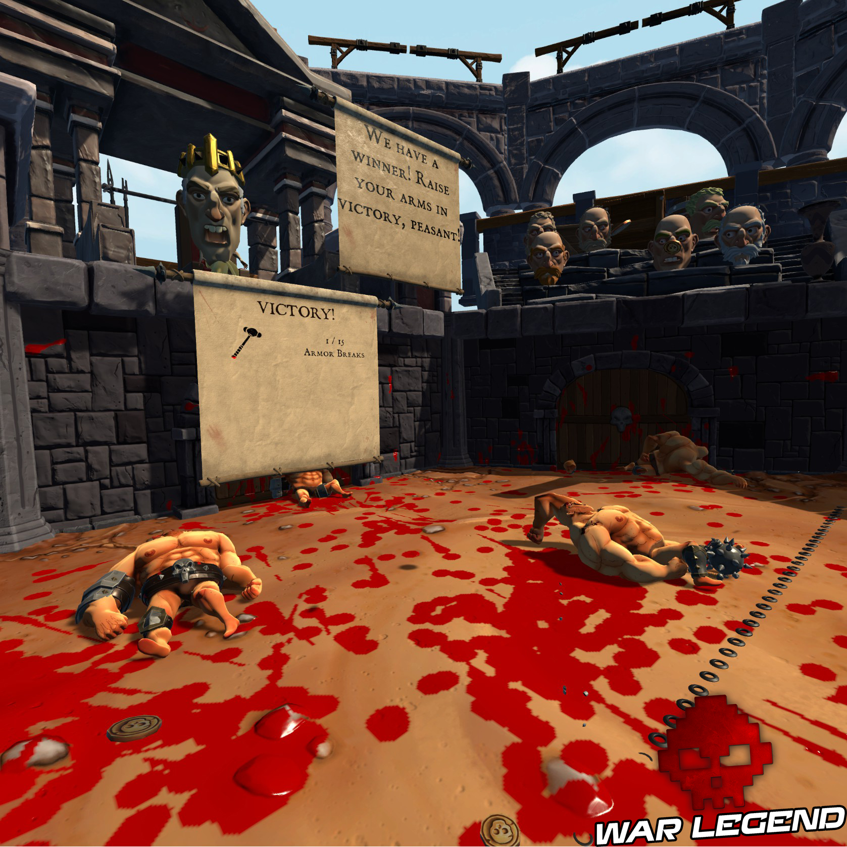 gladiateurs à terre, sang partout et progression du score