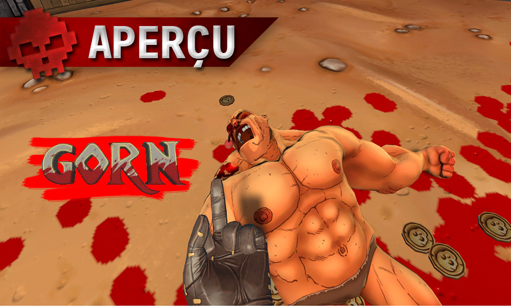 Aperçu Gorn doigt d'honneur en direction du cadavre d'un gladiateur, logo du jeu
