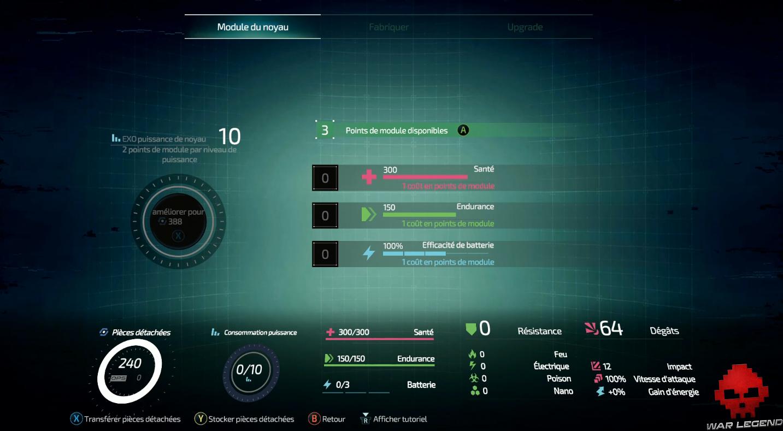 Aperçu the surge 2 interface utilisateur exosquelette