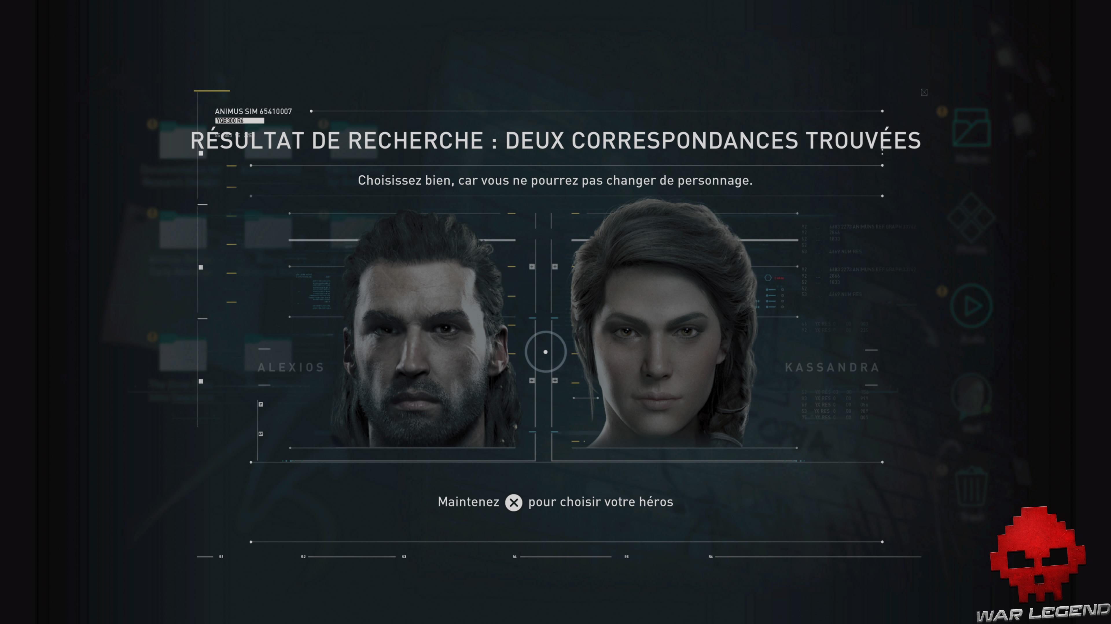 Guide débutant Assassin's Creed Odyssey - Choix entre Alexios et Kassandra