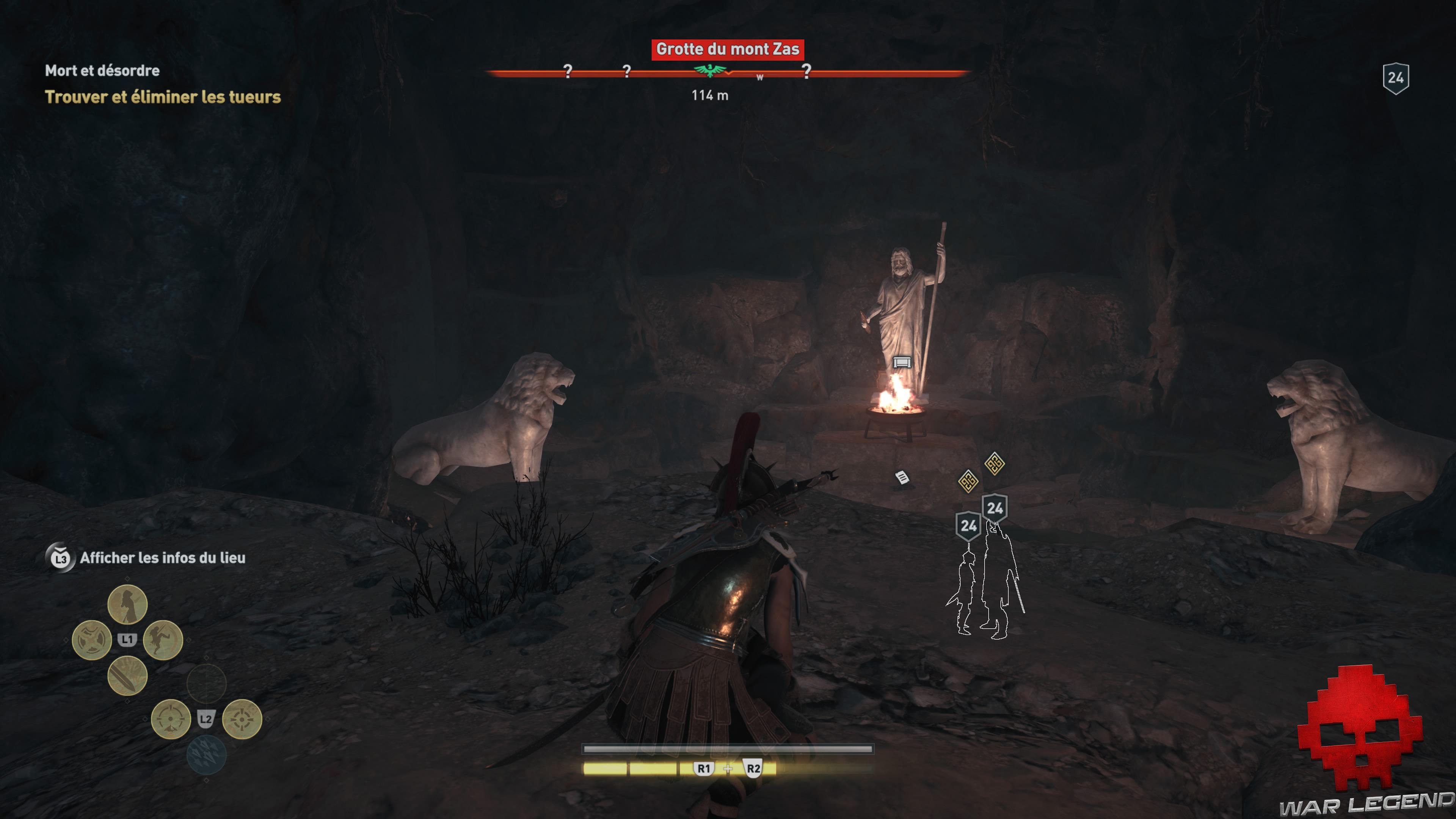 Guide débutant Assassin's Creed Odyssey - Kassandra surplombe deux ennemis