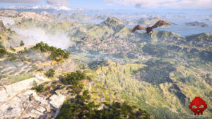 Test Assassin's Creed Odyssey - Paysage survolé par Ikaros
