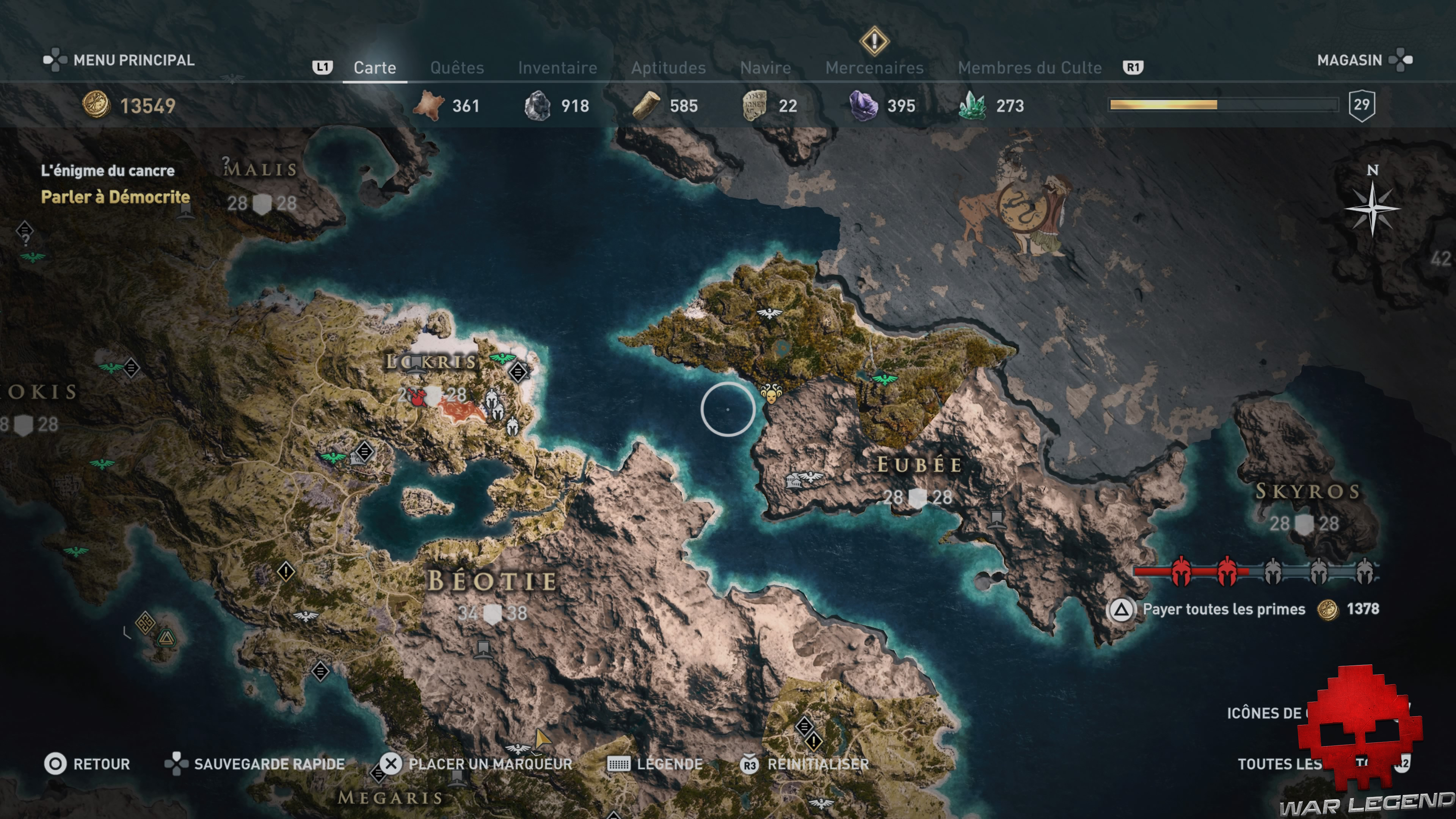 Guide adeptes culte de Kosmos assassin's creed Odyssey - Carte Eubée emplacement adepte Skylax le juste
