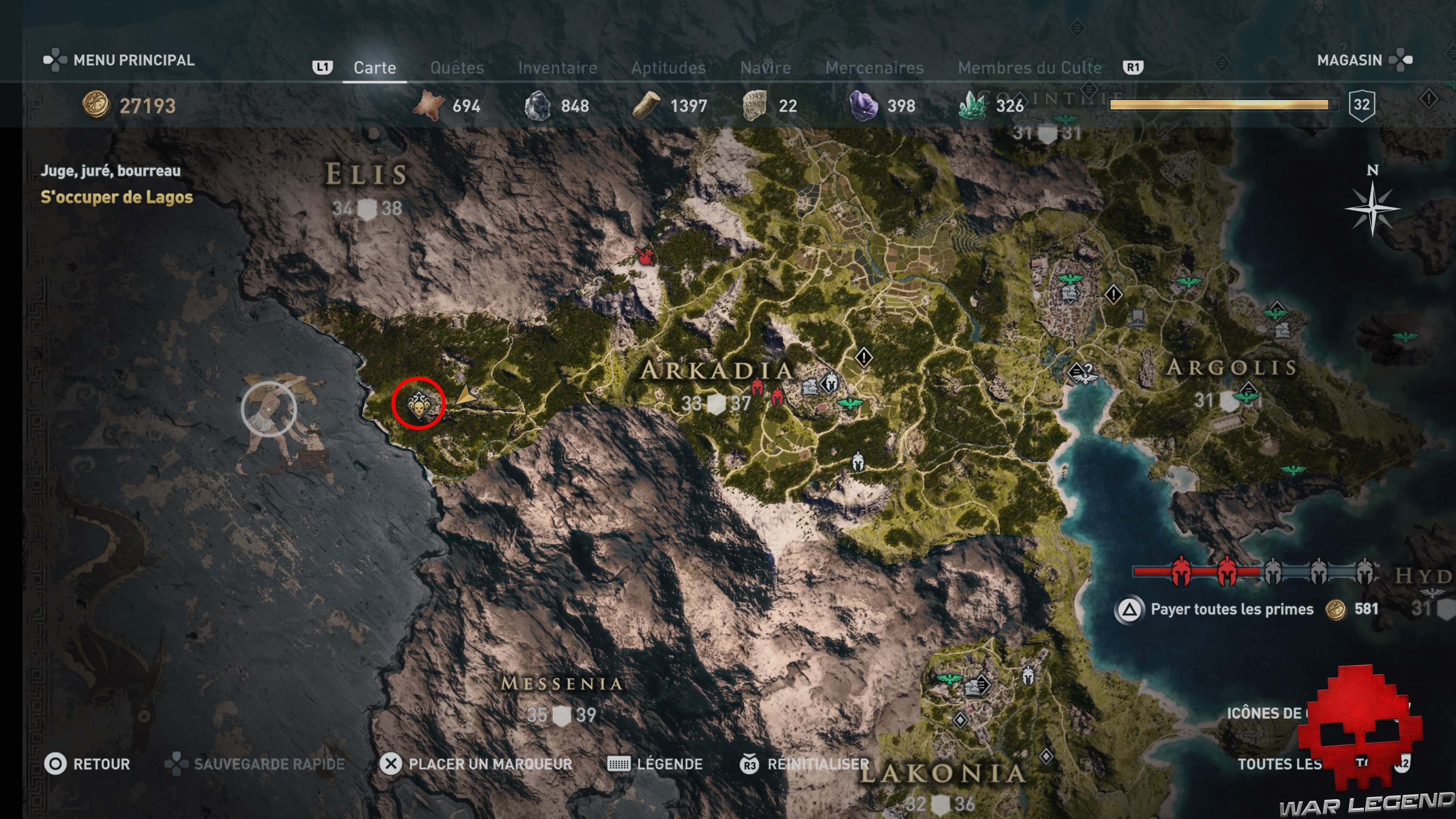 Guide adeptes culte de Kosmos assassin's creed Odyssey - Carte arkadia emplacement adepte lagos