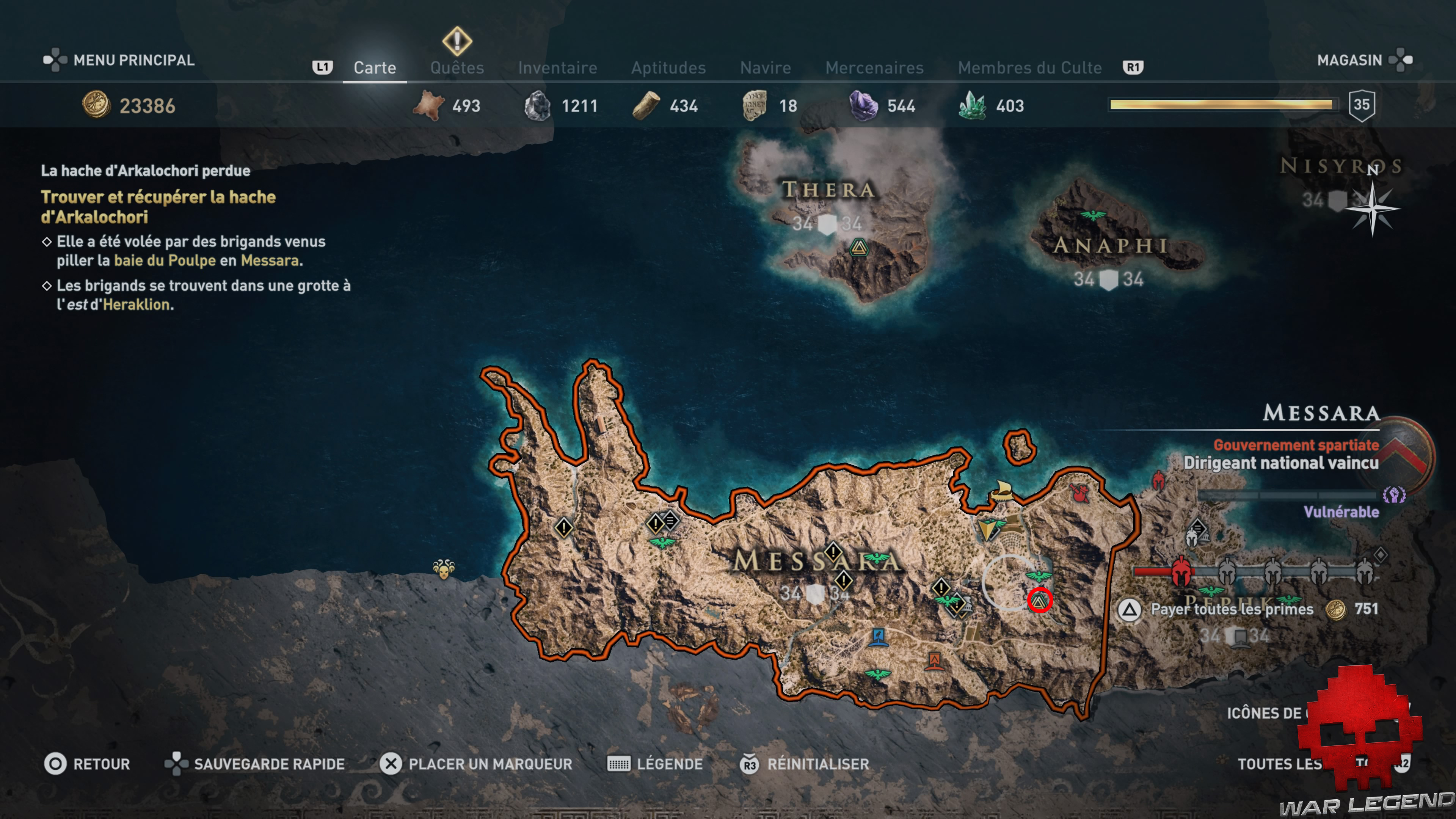 Guide trophées assassin's creed odyssey - Carte Messara