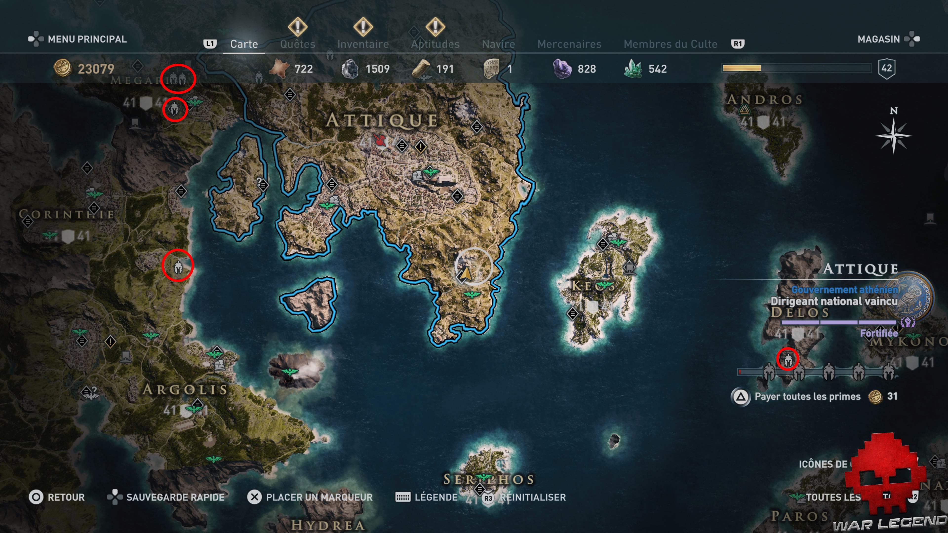 Guide mercenaires Assassin's Creed Odyssey - Carte du monde avec casques blancs entourés