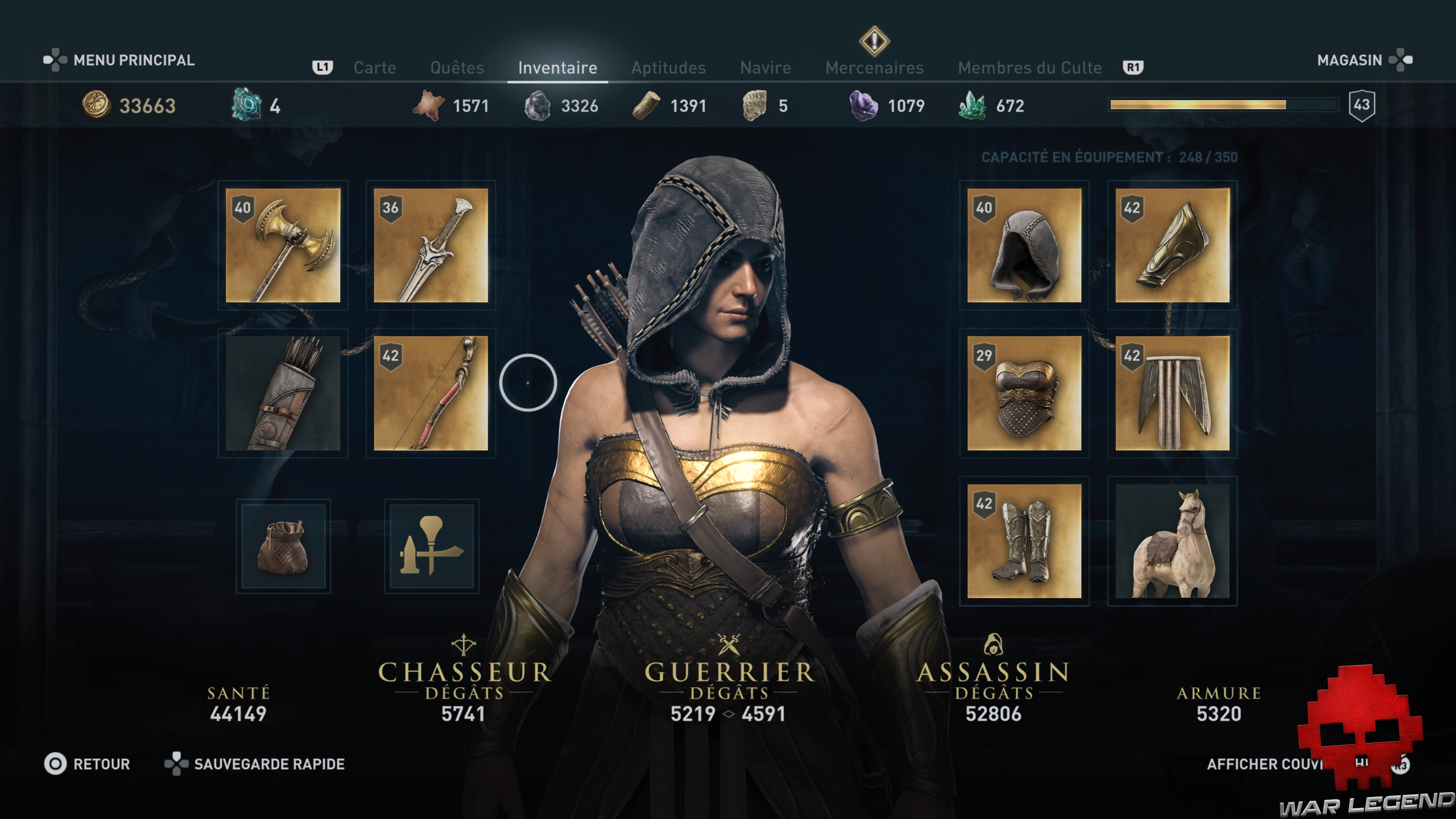 Test Assassin's Creed Odyssey - Fenêtre d'inventaire