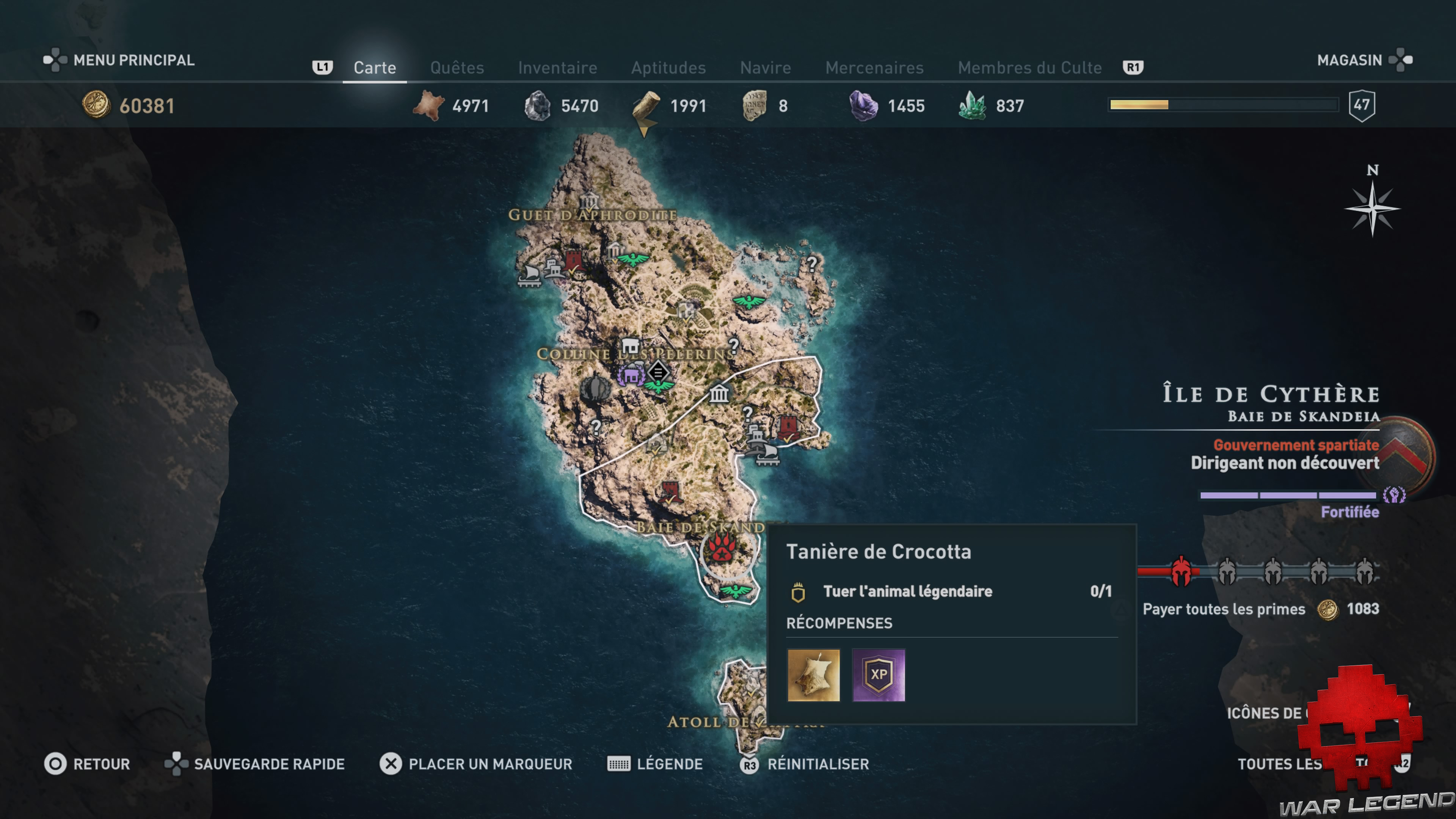 Guide bêtes mythiques assassin's creed odyssey crocotta emplacement