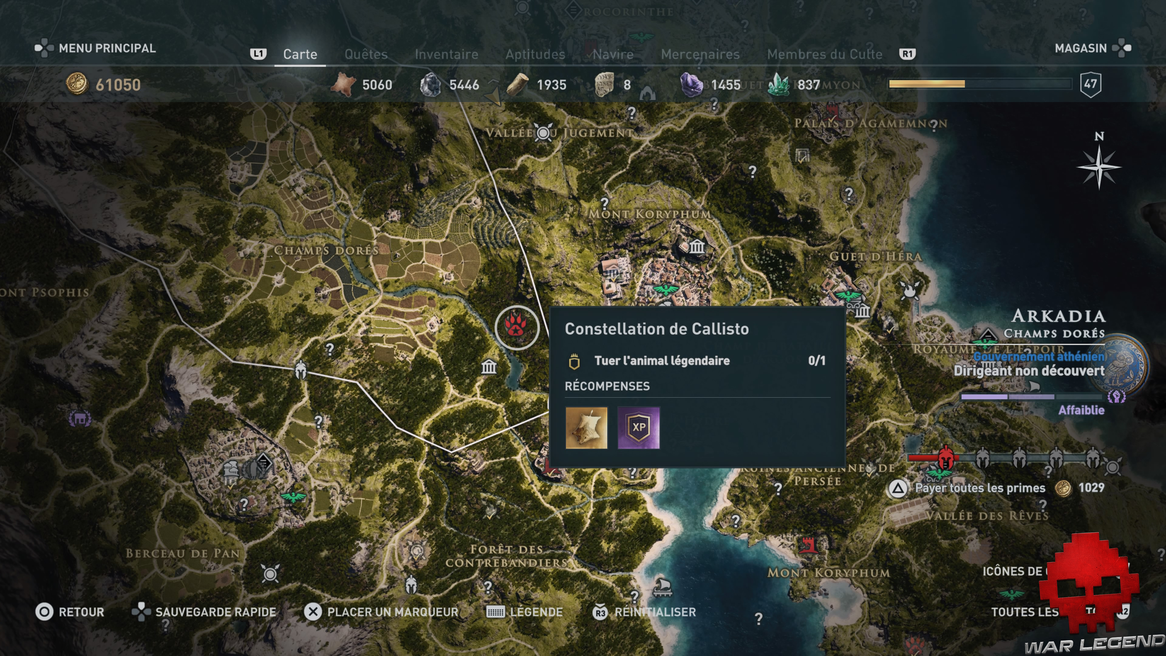Guide bêtes mythiques assassin's creed odyssey constellation de callisto emplacement