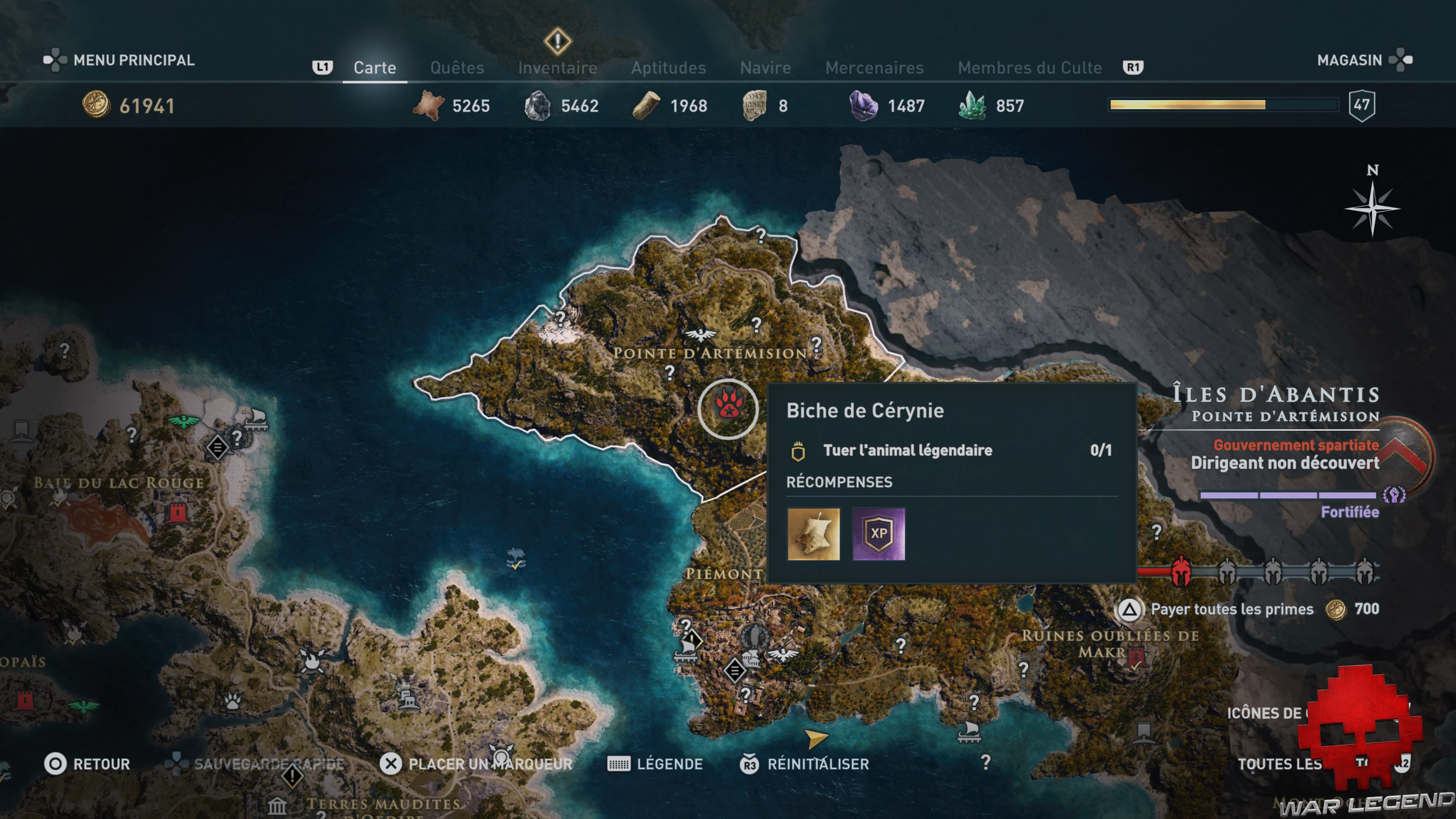 Guide bêtes mythiques assassin's creed odyssey biche de céreynie emplacement