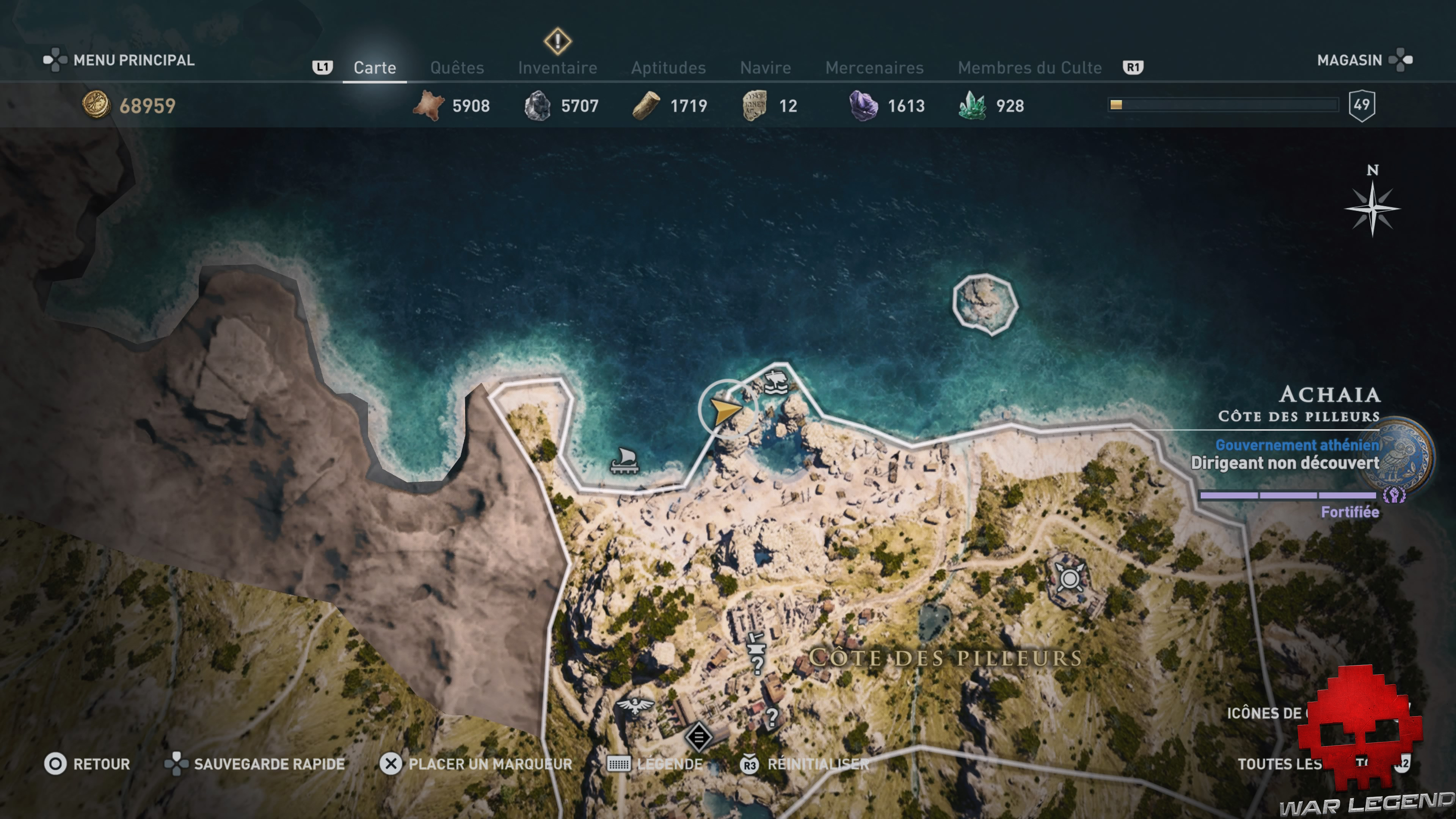 Guide adeptes culte de Kosmos assassin's creed Odyssey - Carte Achaia