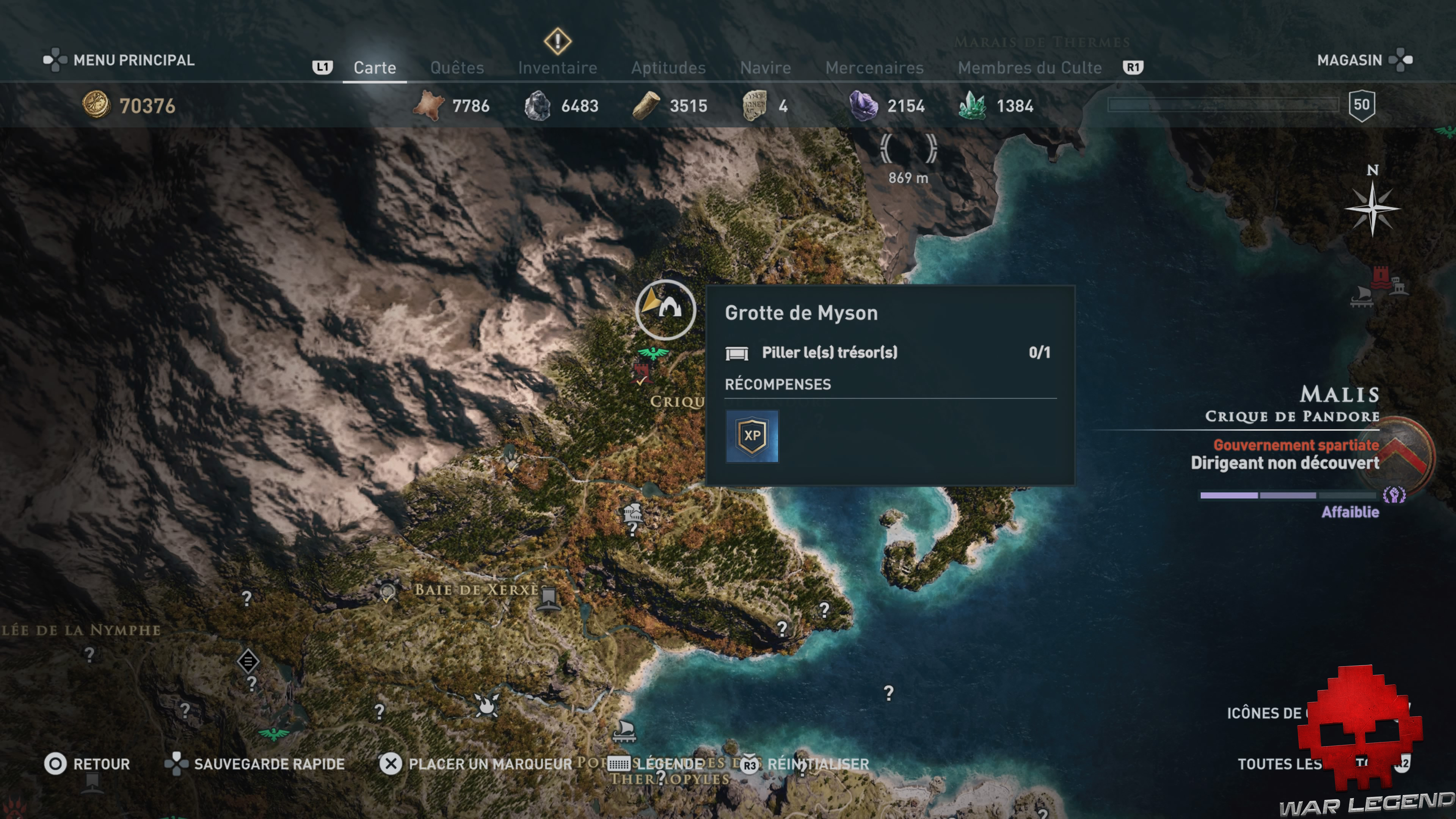 Guide licorne assassin's creed odyssey - Grotte de myson carte