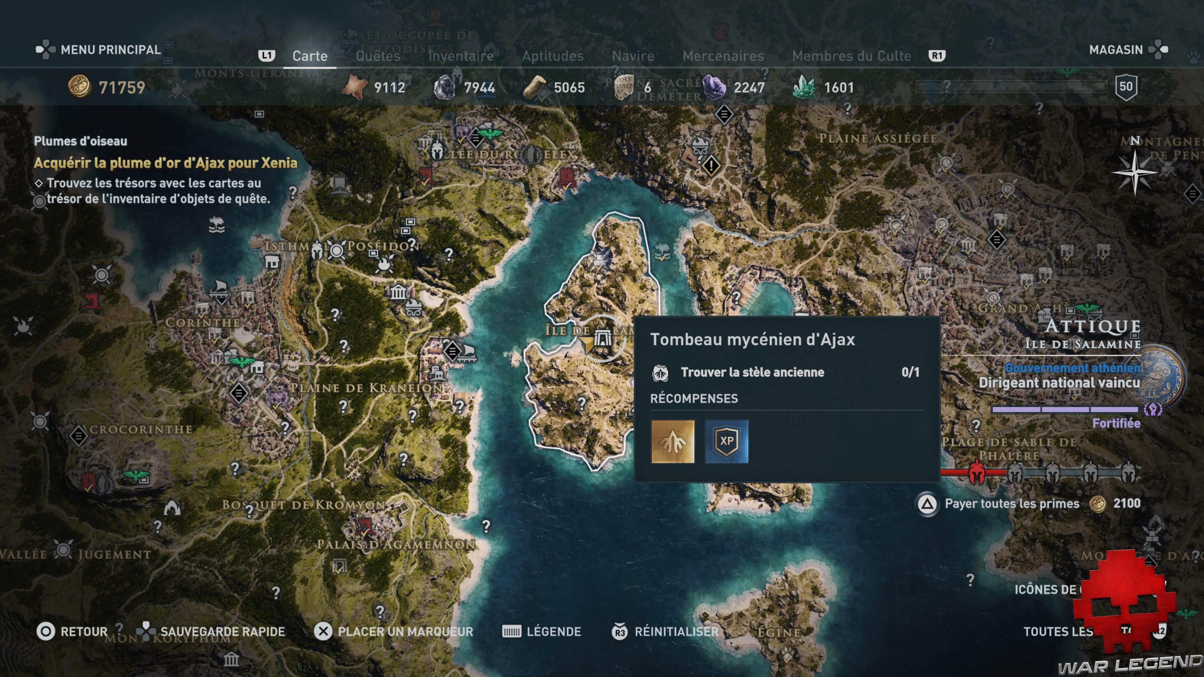 Guide Assassin's Creed Odyssey carte tombeau mycénien d'Ajax