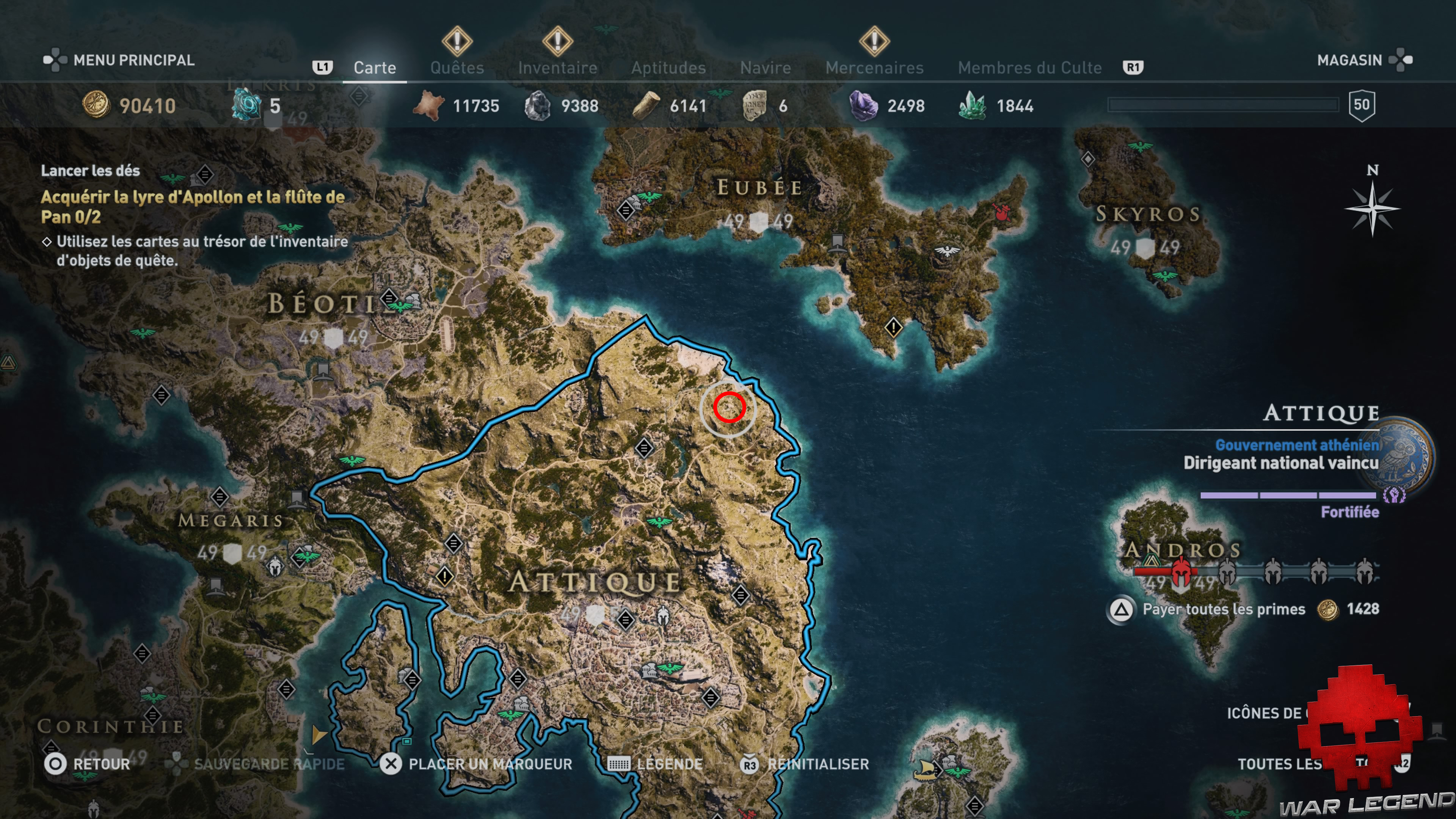 Guide assassin's creed odyssey emplacement grotte de pan plan global