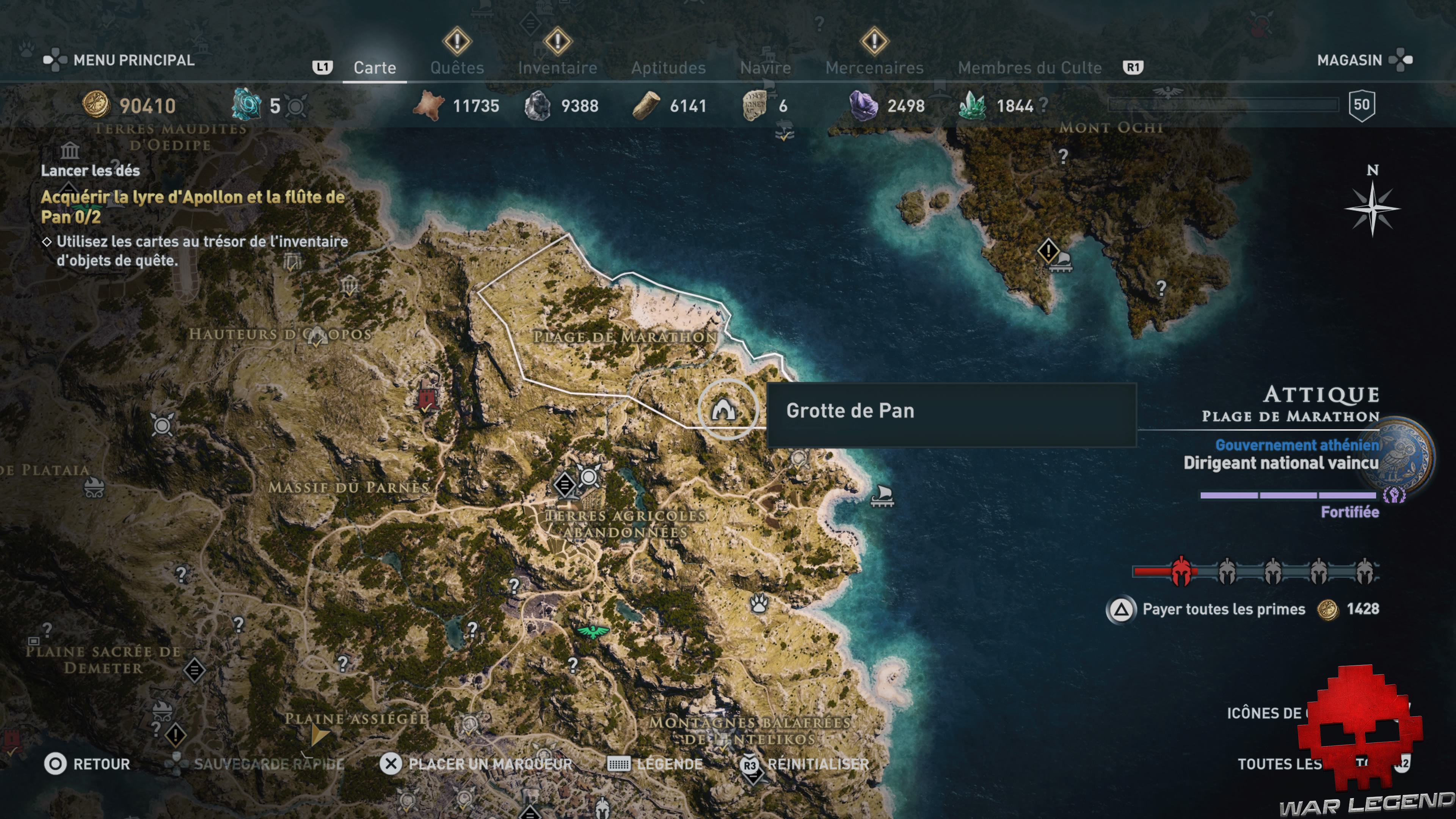 Guide assassin's creed odyssey emplacement grotte de pan
