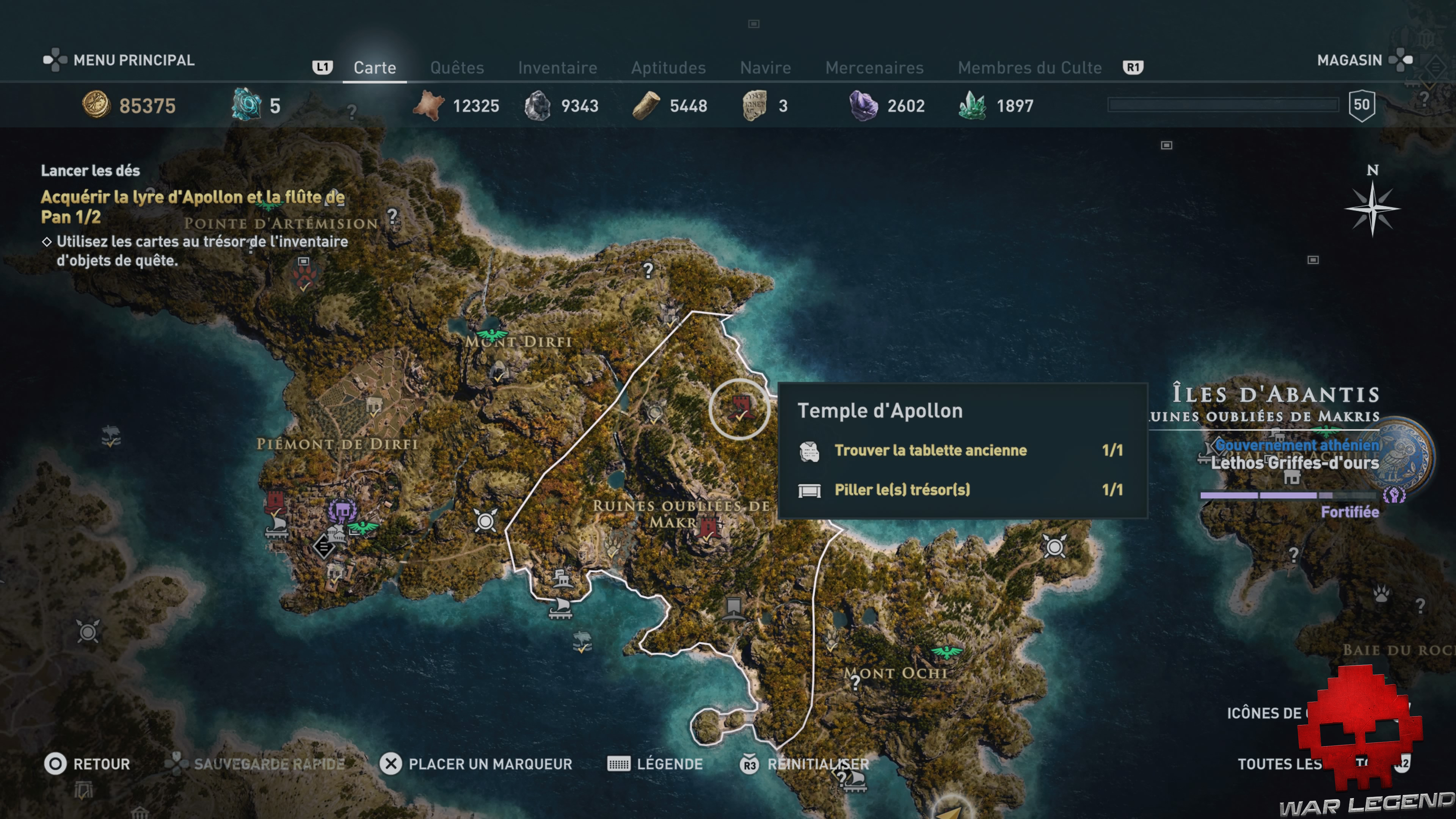Guide assassin's creed odyssey emplacement lyre d'Apollon